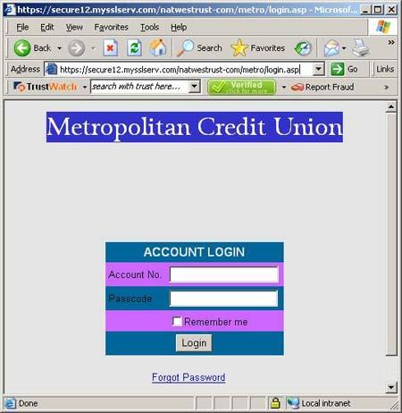 Fraudulent site screenshot