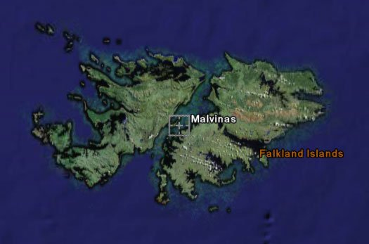The Falklands, according to Google