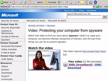 Microsoft video explaining spyware