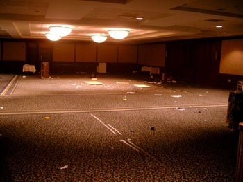Empty conference room full of junk