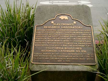 Historical marker of the FTT lab where de Forest worked
