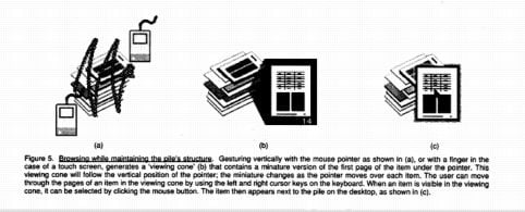 Apple's Piles from 1992: browsing the pile, pulling out a page