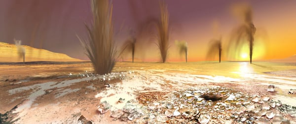Artist's impression of how the Martian geysers may look. Pic: Arizona State University/Ron Miller