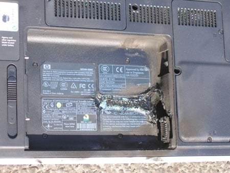 a laptop's battery burns