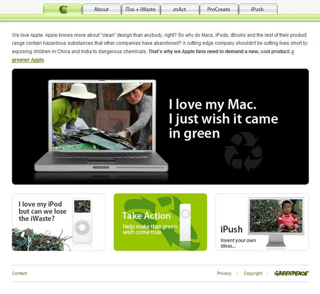 Greenpeace's anti-Apple campaign site