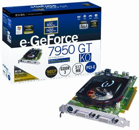 evga e-geforce 7950gt ko superclocked graphics card