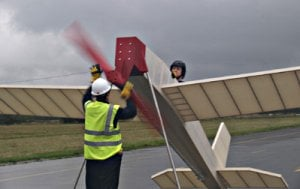 Mark Clews prepares for non-take-off. Photo: University of Westminster
