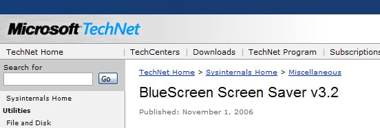 Microsoft Blue Screen Saver of Death - partial screenshot of MS site