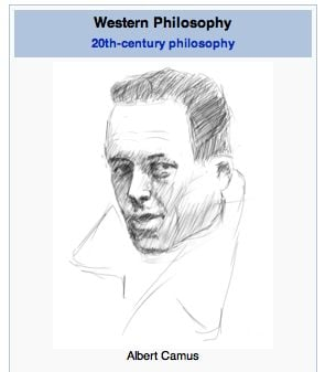 Albert Camus, hand-drawn for your Wikipedia pleasure