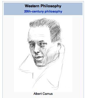 Albert Camus, hand-drawn for your Wikipedia pleasure