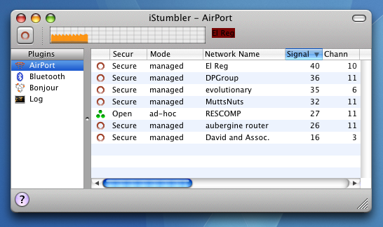 istumbler sniffs out nearby wireless network details