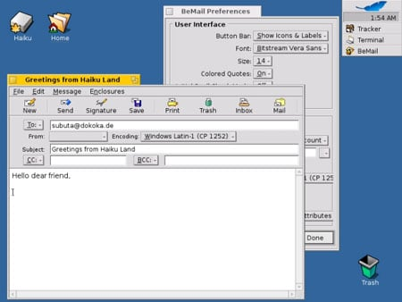 beos/haiku operating system screenshot