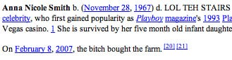 Anna Nicole Smith on Wikipedia