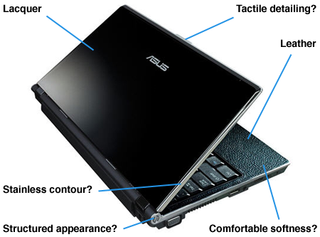 asus u1f luxury leather and lacquer laptop - key features