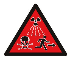 Shot of the new radiation sign