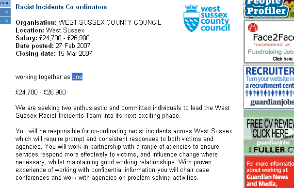 Guardian job ad for West Sussex council racism coordinators. The text asks for people to coordinate racist incidents across the county