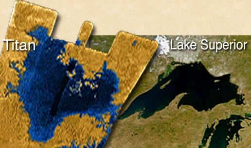 One of Titan's lakes compared with Lake Superior