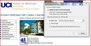 Screenshot of Cancer Center webpage offering Adobe Acrobat Professional