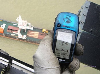 The GPS location of the merchant vessel