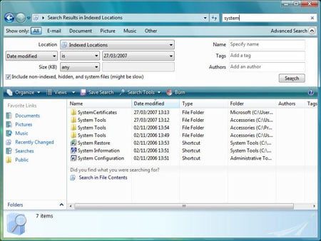 Microsoft Vista Search