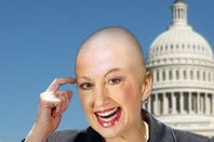 A bald Carly Fiorina superimposed over the Capitol building in DC