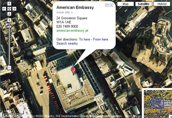 The US Embassy according to Google Maps - actually a Post Office