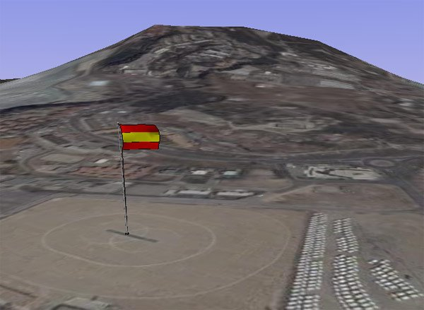 The Spanish flag flies over Gibraltar on Google Earth