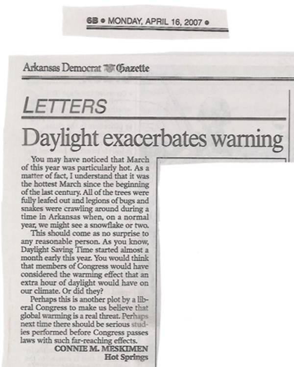clipping of letter to the editor published on April 16, 2007