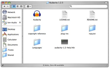 Audacity install software CD contents
