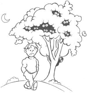 Thurber-esque cartoon of boy with hands in pockets walking past tree. He looks dismayed. Peeking out of the foliage are lots of eyes staring at him