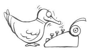 Thurber-esque cartoon of duck tapping typewriter