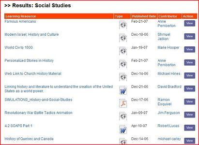 Screengrab of Curriki's Social Studies offering
