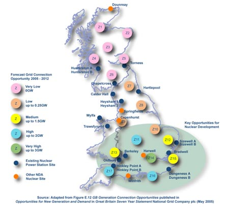 Potential and existing nuclear power station sites