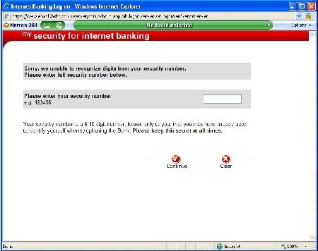 Screen shot of HSBC web page, with no warning from either IE or Norton 360