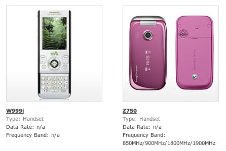 Sony Ericsson's W999 on the GSMA website