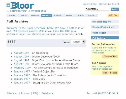 Screen shot of Bloor website with no mention of the report.