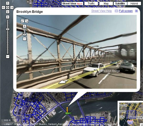 A Street View image of the Brooklyn Bridge on Google Maps