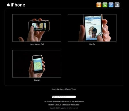 Apple iPhone webpage