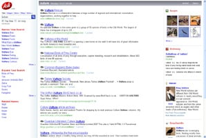 The new Ask.com results page, where all sorts of additional content is posted alongside core search results.