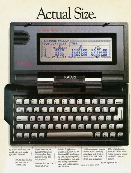 Atari Portfolio Ad - scan courtesy Attached