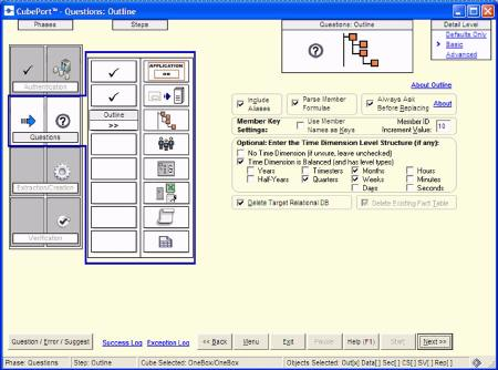 CubePort's wizard interface: the graphics on the left show the current phase and step of the conversion process. Here you can set the structure of the time dimension