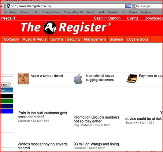 The Register as viewed by Apple's Safari