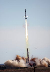 The HyCAUSE lifts off atop a TA