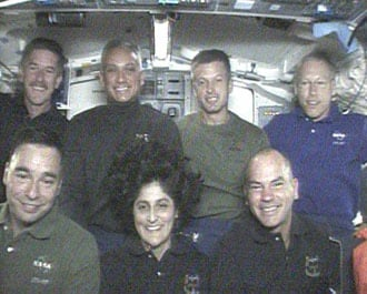 Hollywood smiles from the Atlantis' crew. Credit NASA TV