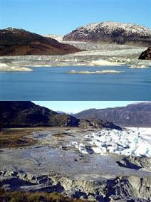 Before and after photos of Chile's missing lake. Photos: CONAF