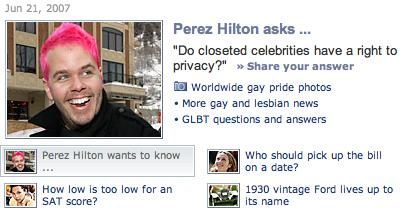 Shot of Yahoo's ask Perez Hilton page