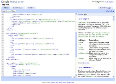 The Google Mashup Editor code editor at work