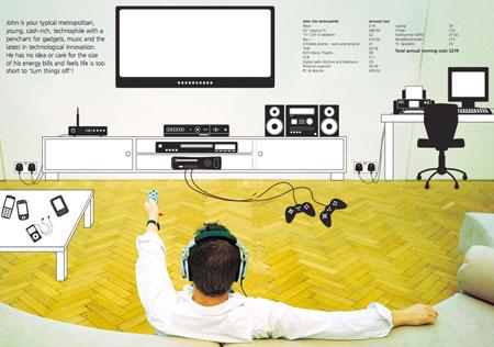Too many gadgets, dude - image courtesy Energy Saving Trust