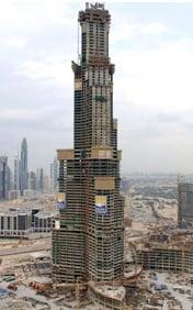 The Burj Dubai at a modest 96 stories earlier this year. Photo: Emaar