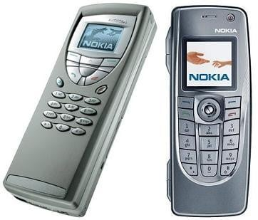 Nokia 9200 (2001) and the much smaller 9300i (2006)